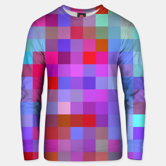 Miniatur geometric square pixel pattern abstract background in blue purple pink red Unisex sweater, Live Heroes