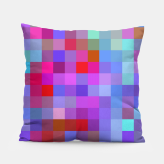 Thumbnail image of geometric square pixel pattern abstract background in blue purple pink red Pillow, Live Heroes