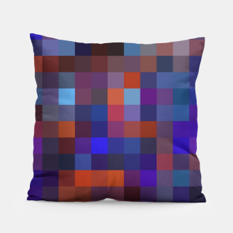 Thumbnail image of geometric square pixel pattern abstract background in blue purple orange Pillow, Live Heroes