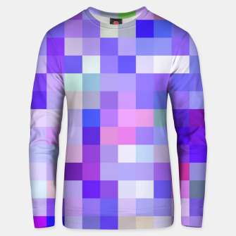 Miniatur geometric square pixel pattern abstract background in blue pink purple Unisex sweater, Live Heroes