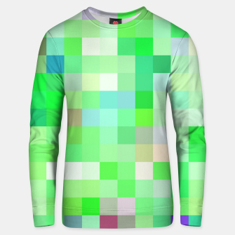 Miniatur geometric square pixel pattern abstract background in green pink purple Unisex sweater, Live Heroes