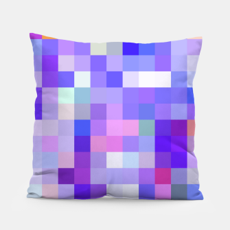 Thumbnail image of geometric square pixel pattern abstract background in blue pink purple Pillow, Live Heroes