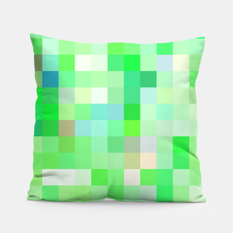 Thumbnail image of geometric square pixel pattern abstract background in green pink purple Pillow, Live Heroes