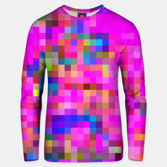 Miniatur geometric square pixel pattern abstract background in pink blue yellow Unisex sweater, Live Heroes
