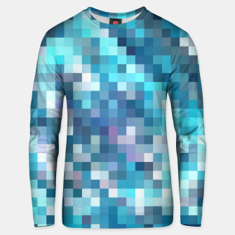 Miniatur geometric square pixel pattern abstract in blue Unisex sweater, Live Heroes