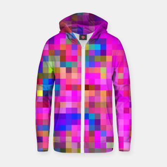 Miniature de image de geometric square pixel pattern abstract background in pink blue yellow Zip up hoodie, Live Heroes