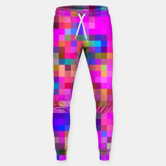 Miniature de image de geometric square pixel pattern abstract background in pink blue yellow Sweatpants, Live Heroes