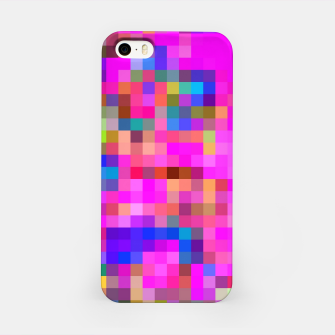 Miniature de image de geometric square pixel pattern abstract background in pink blue yellow iPhone Case, Live Heroes