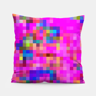 Thumbnail image of geometric square pixel pattern abstract background in pink blue yellow Pillow, Live Heroes