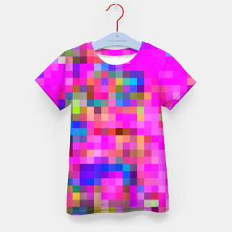 Miniature de image de geometric square pixel pattern abstract background in pink blue yellow Kid's t-shirt, Live Heroes