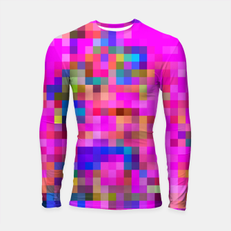 Miniature de image de geometric square pixel pattern abstract background in pink blue yellow Longsleeve rashguard , Live Heroes
