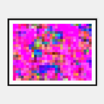 Miniature de image de geometric square pixel pattern abstract background in pink blue yellow Framed poster, Live Heroes