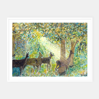 Thumbnail image of Adorable deers Framed poster, Live Heroes