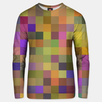 geometric square pixel pattern abstract in yellow green purple Unisex sweater thumbnail image