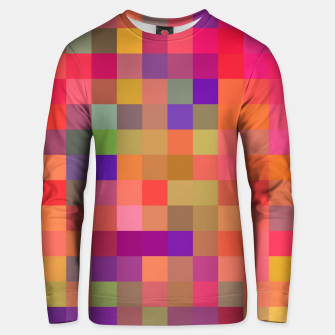 geometric square pixel pattern abstract in pink blue yellow Unisex sweater thumbnail image