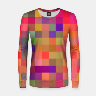 geometric square pixel pattern abstract in pink blue yellow Women sweater thumbnail image