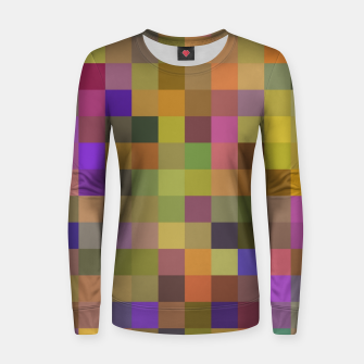 geometric square pixel pattern abstract in yellow green purple Women sweater thumbnail image