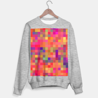 geometric square pixel pattern abstract in pink blue yellow Sweater regular thumbnail image