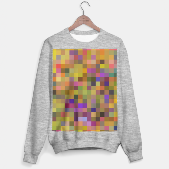 geometric square pixel pattern abstract in yellow green purple Sweater regular thumbnail image