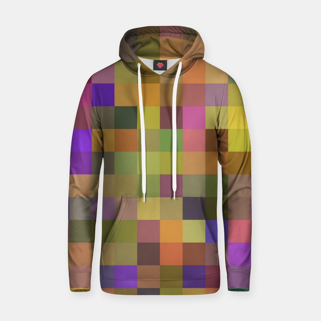 Image of geometric square pixel pattern abstract in yellow green purple Hoodie - Live Heroes