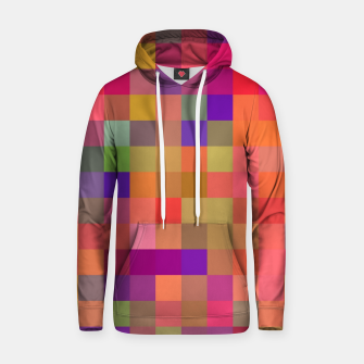 geometric square pixel pattern abstract in pink blue yellow Hoodie thumbnail image