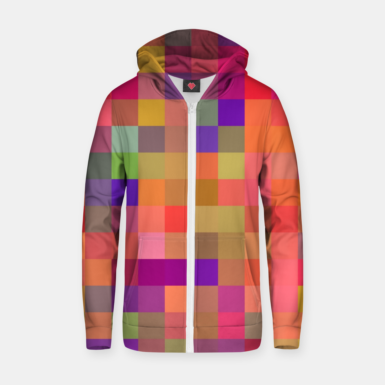 Image of geometric square pixel pattern abstract in pink blue yellow Zip up hoodie - Live Heroes