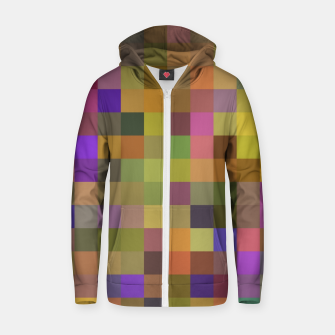 geometric square pixel pattern abstract in yellow green purple Zip up hoodie thumbnail image