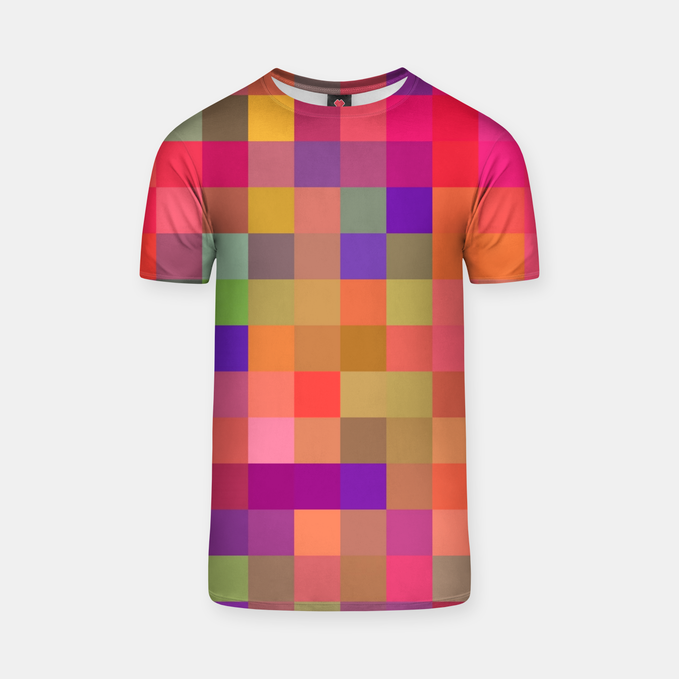 Image of geometric square pixel pattern abstract in pink blue yellow T-shirt - Live Heroes