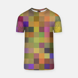 Thumbnail image of geometric square pixel pattern abstract in yellow green purple T-shirt, Live Heroes