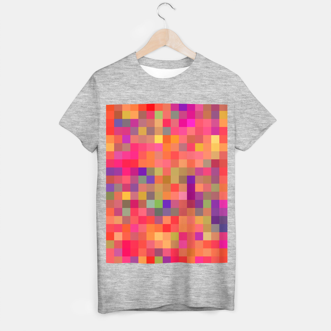 Image of geometric square pixel pattern abstract in pink blue yellow T-shirt regular - Live Heroes