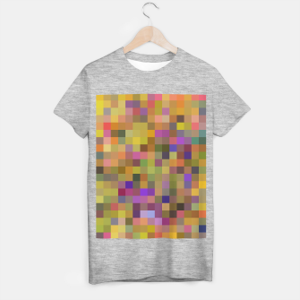 geometric square pixel pattern abstract in yellow green purple T-shirt regular thumbnail image