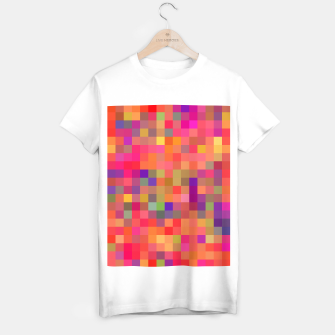 Miniaturka geometric square pixel pattern abstract in pink blue yellow T-shirt regular, Live Heroes