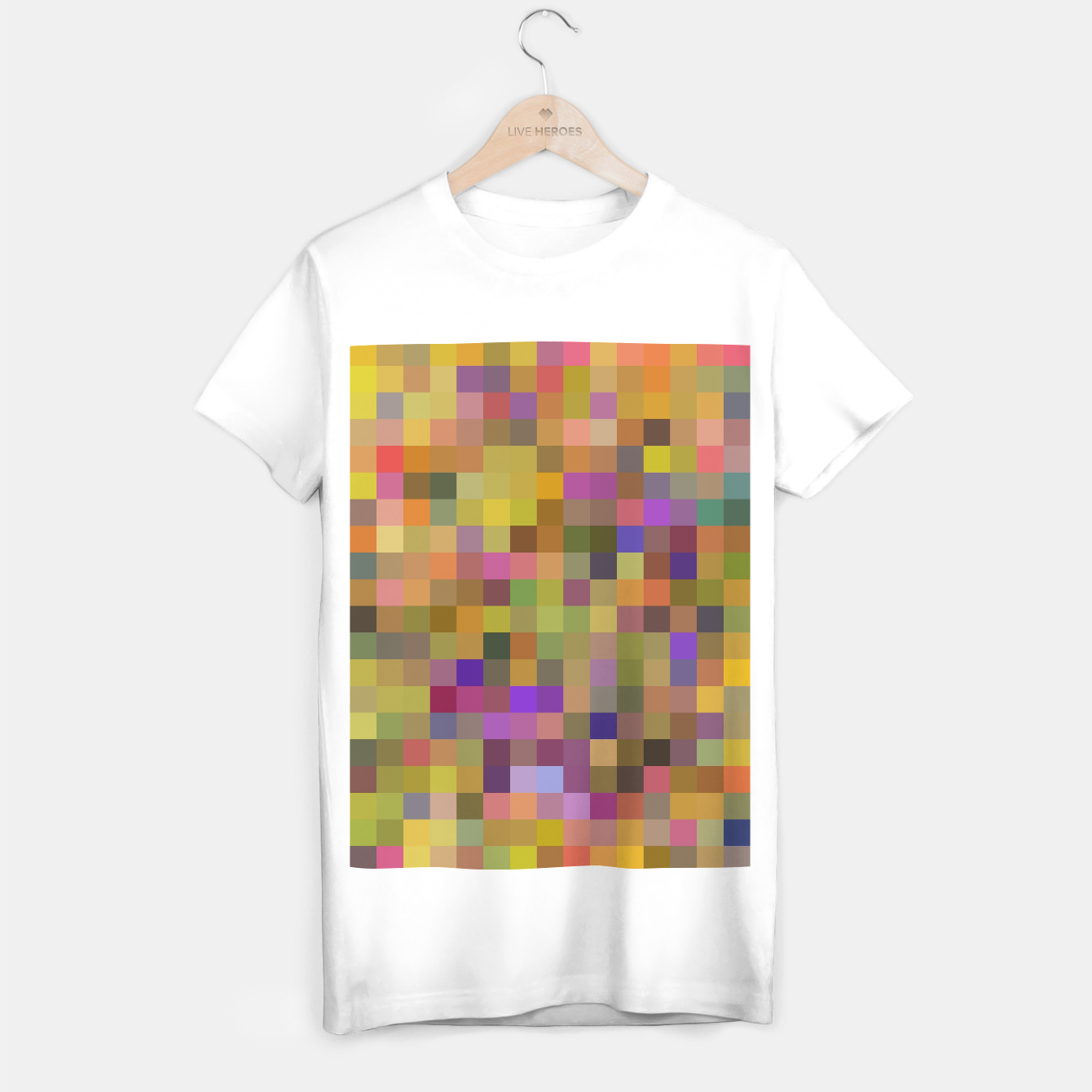Image of geometric square pixel pattern abstract in yellow green purple T-shirt regular - Live Heroes