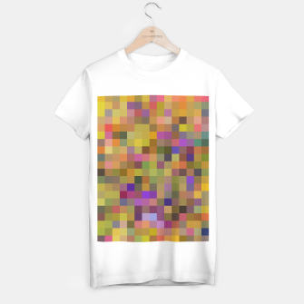 Thumbnail image of geometric square pixel pattern abstract in yellow green purple T-shirt regular, Live Heroes