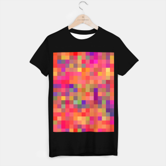 Thumbnail image of geometric square pixel pattern abstract in pink blue yellow T-shirt regular, Live Heroes