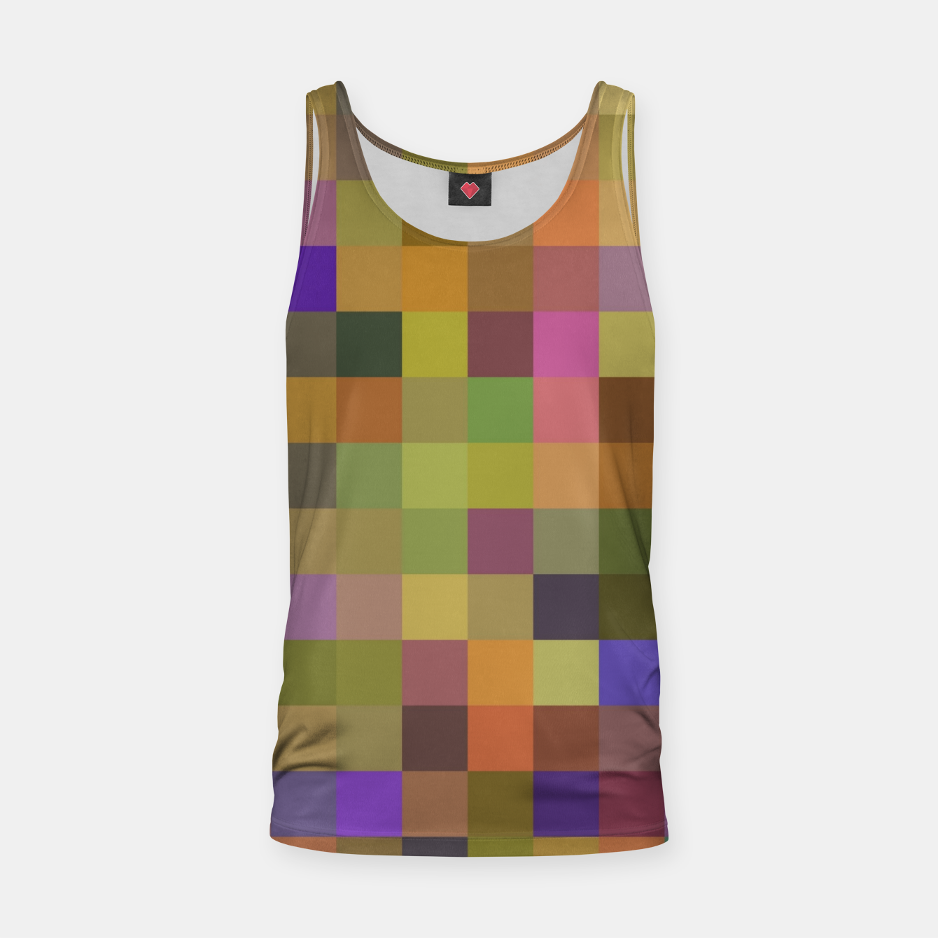 Image of geometric square pixel pattern abstract in yellow green purple Tank Top - Live Heroes