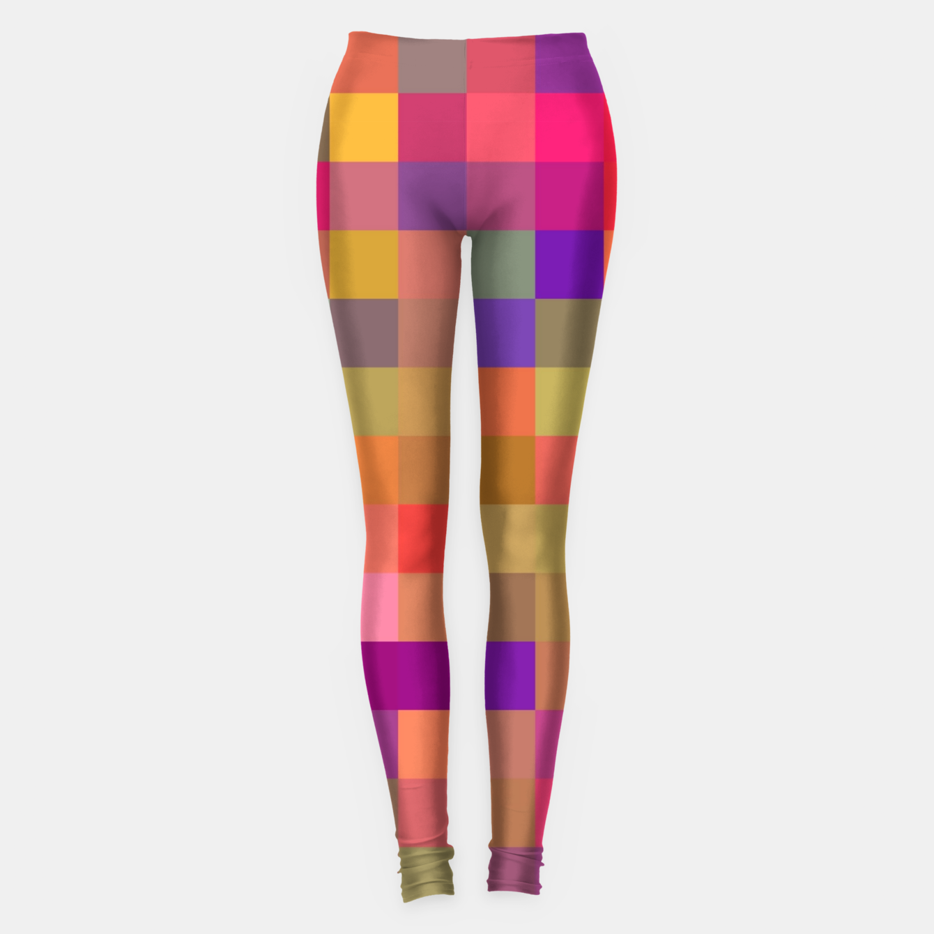 Image of geometric square pixel pattern abstract in pink blue yellow Leggings - Live Heroes