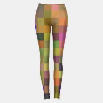 geometric square pixel pattern abstract in yellow green purple Leggings thumbnail image