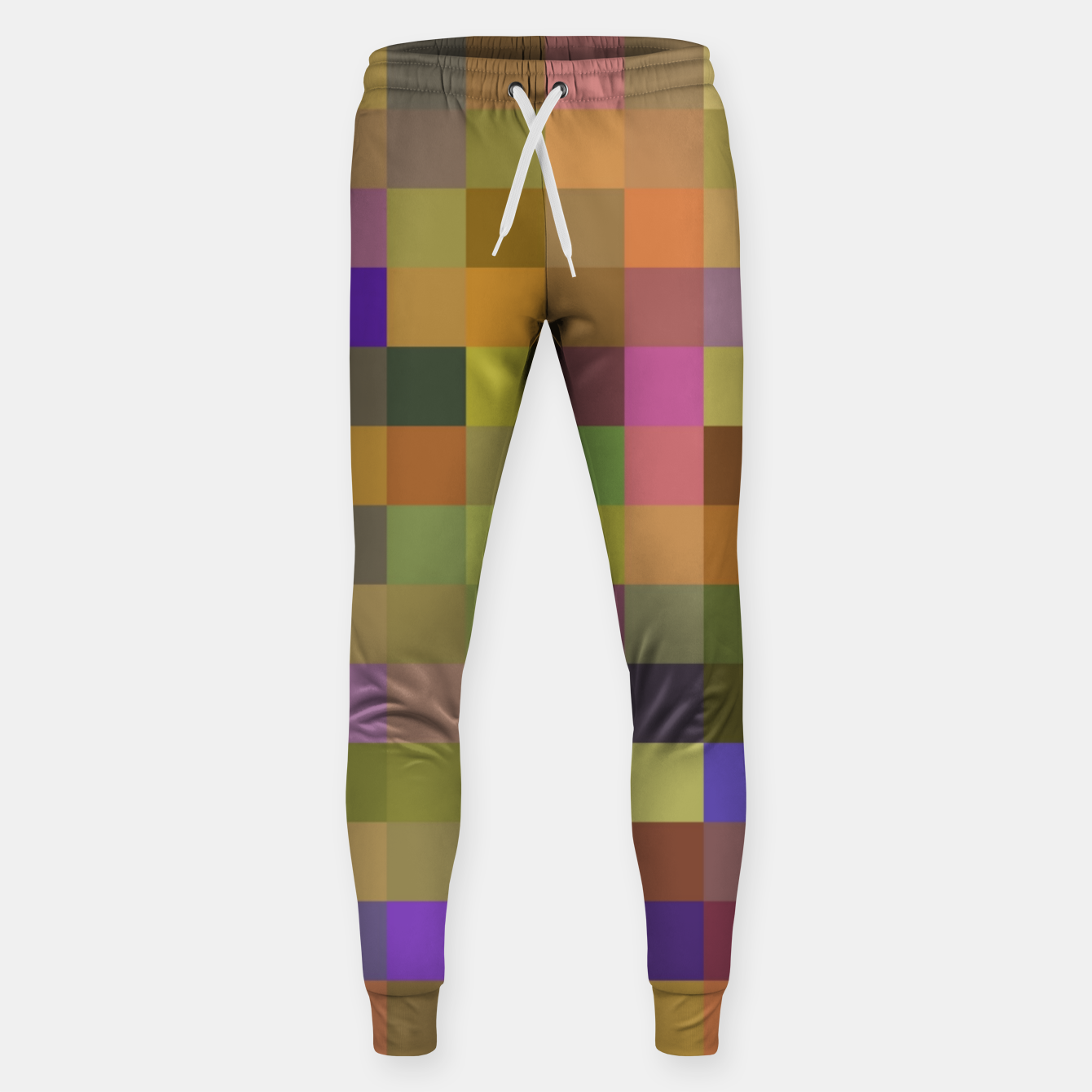 Image of geometric square pixel pattern abstract in yellow green purple Sweatpants - Live Heroes