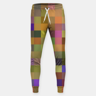 Thumbnail image of geometric square pixel pattern abstract in yellow green purple Sweatpants, Live Heroes