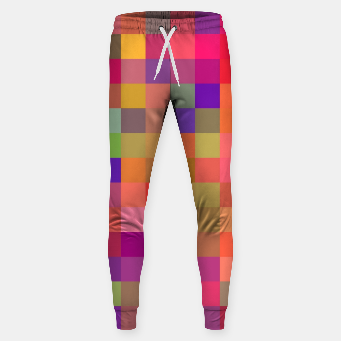 Image of geometric square pixel pattern abstract in pink blue yellow Sweatpants - Live Heroes