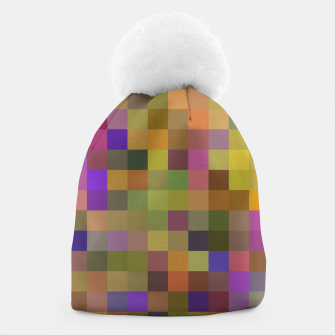 Thumbnail image of geometric square pixel pattern abstract in yellow green purple Beanie, Live Heroes