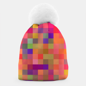 Thumbnail image of geometric square pixel pattern abstract in pink blue yellow Beanie, Live Heroes