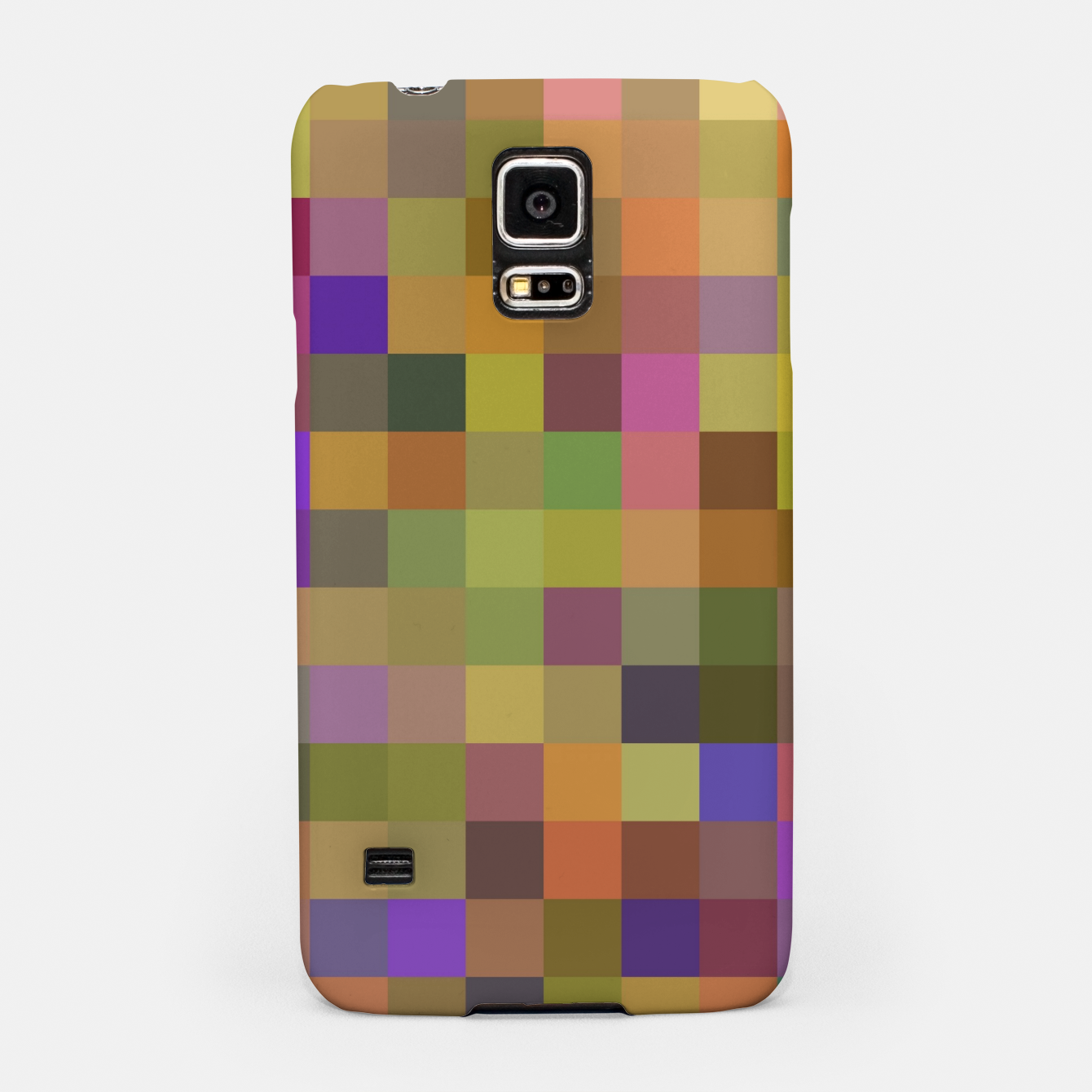Image of geometric square pixel pattern abstract in yellow green purple Samsung Case - Live Heroes