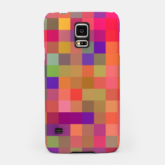 Thumbnail image of geometric square pixel pattern abstract in pink blue yellow Samsung Case, Live Heroes