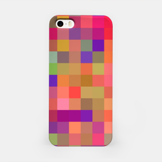 geometric square pixel pattern abstract in pink blue yellow iPhone Case thumbnail image