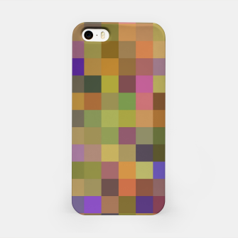 Thumbnail image of geometric square pixel pattern abstract in yellow green purple iPhone Case, Live Heroes