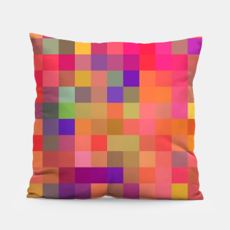 Thumbnail image of geometric square pixel pattern abstract in pink blue yellow Pillow, Live Heroes