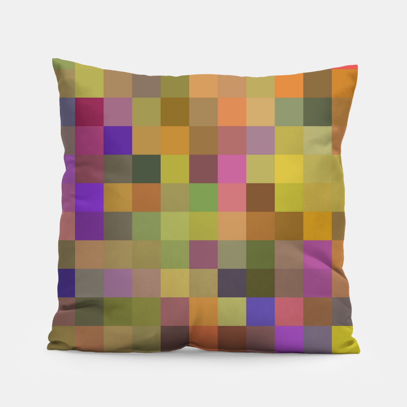 Image of geometric square pixel pattern abstract in yellow green purple Pillow - Live Heroes