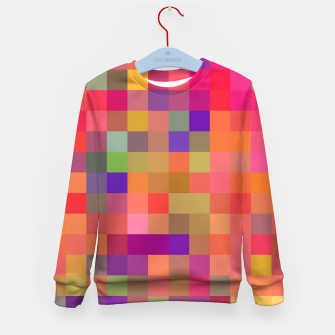 geometric square pixel pattern abstract in pink blue yellow Kid's sweater thumbnail image